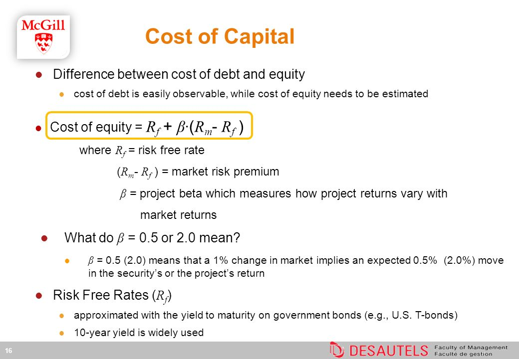 Difference between cost of debt and equity cost of debt is easily observable, while cost of equity needs to be estimated Cost of equity = R f + β· ( R m - R f ) where R f = risk free rate ( R m - R f ) = market risk premium β = project beta which measures how project returns vary with market returns What do β = 0.5 or 2.0 mean.