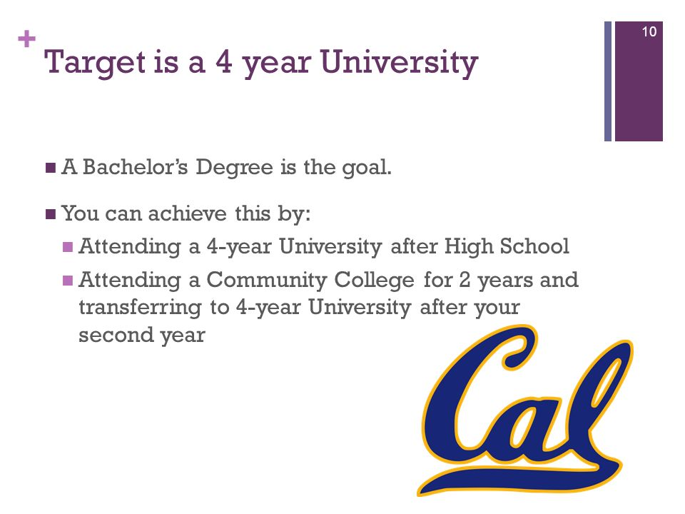 + Target is a 4 year University A Bachelors Degree is the goal. You can achieve this by: Attending a 4-year University after High School Attending a C