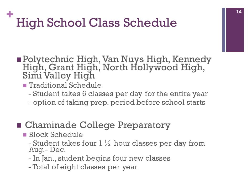 + High School Class Schedule Polytechnic High, Van Nuys High, Kennedy High, Grant High, North Hollywood High, Simi Valley High Traditional Schedule -