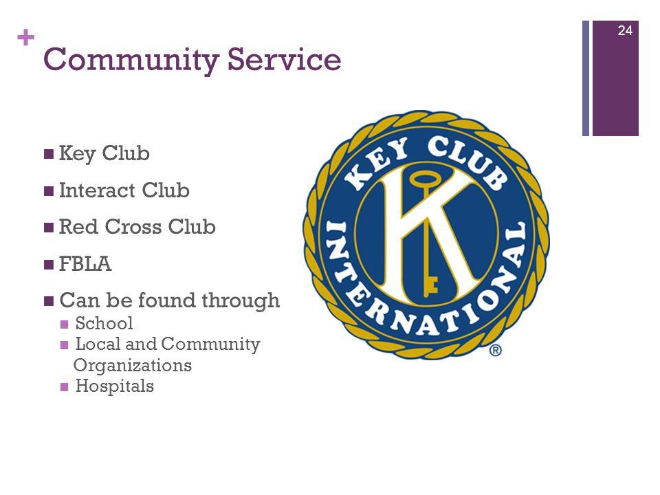+ Community Service Key Club Interact Club Red Cross Club FBLA Can be found through School Local and Community Organizations Hospitals 24