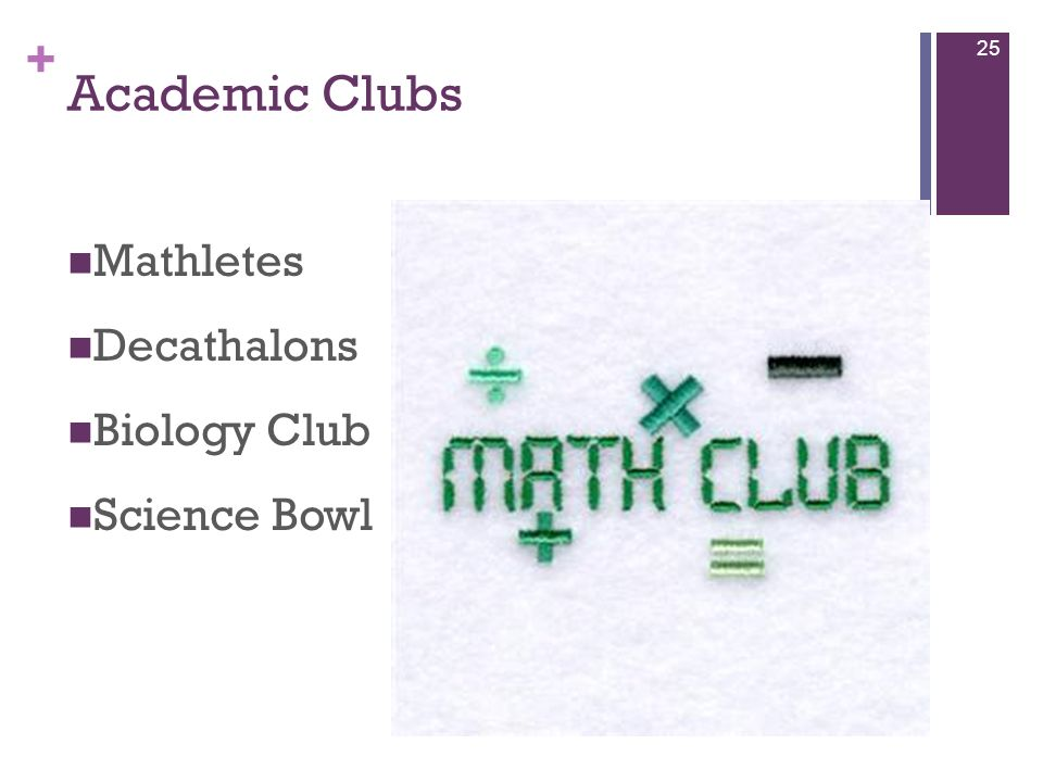 + Academic Clubs Mathletes Decathalons Biology Club Science Bowl 25