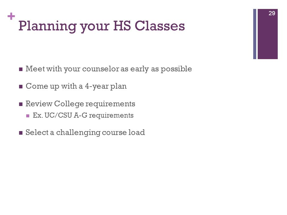+ Planning your HS Classes Meet with your counselor as early as possible Come up with a 4-year plan Review College requirements Ex. UC/CSU A-G require