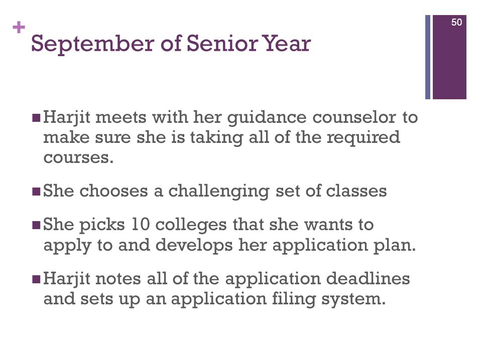 + September of Senior Year Harjit meets with her guidance counselor to make sure she is taking all of the required courses. She chooses a challenging