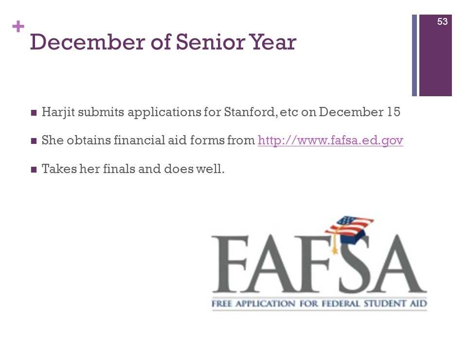 + December of Senior Year Harjit submits applications for Stanford, etc on December 15 She obtains financial aid forms from http://www.fafsa.ed.govhtt