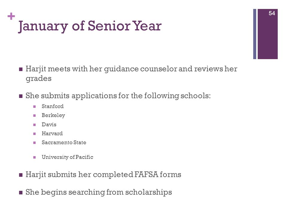+ January of Senior Year Harjit meets with her guidance counselor and reviews her grades She submits applications for the following schools: Stanford