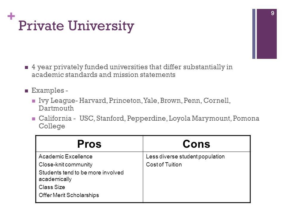 + Private University 4 year privately funded universities that differ substantially in academic standards and mission statements Examples - Ivy League