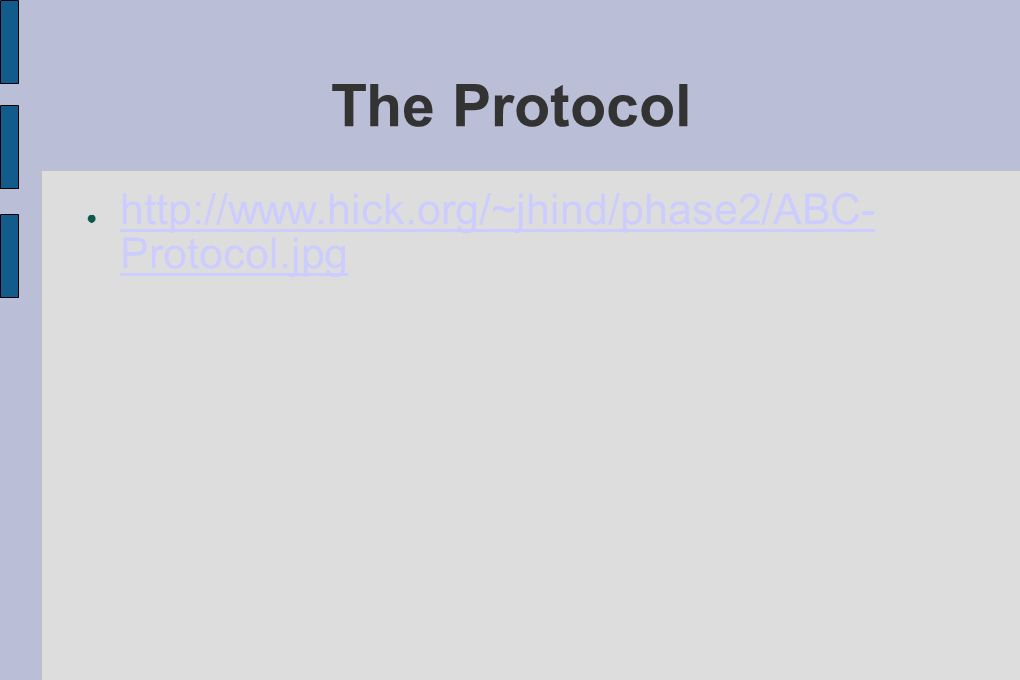 The Protocol http://www.hick.org/~jhind/phase2/ABC- Protocol.jpg http://www.hick.org/~jhind/phase2/ABC- Protocol.jpg