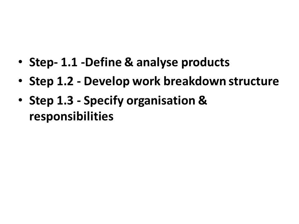 Step- 1.1 -Define & analyse products Step 1.2 - Develop work breakdown structure Step 1.3 - Specify organisation & responsibilities