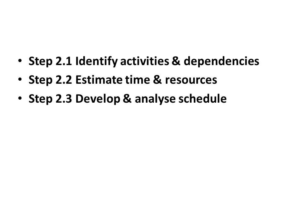 Step 2.1 Identify activities & dependencies Step 2.2 Estimate time & resources Step 2.3 Develop & analyse schedule