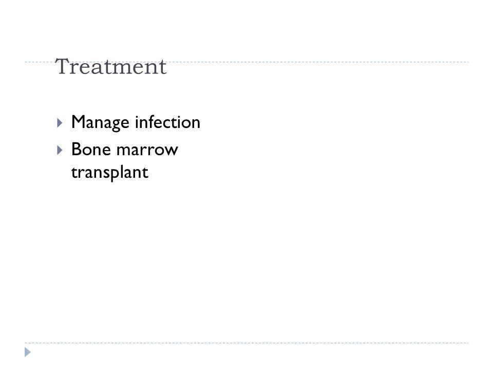 Treatment Manage infection Bone marrow transplant