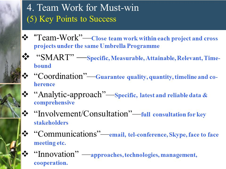 4. Team Work for Must-win (5) Key Points to Success Team-Work Close team work within each project and cross projects under the same Umbrella Programme