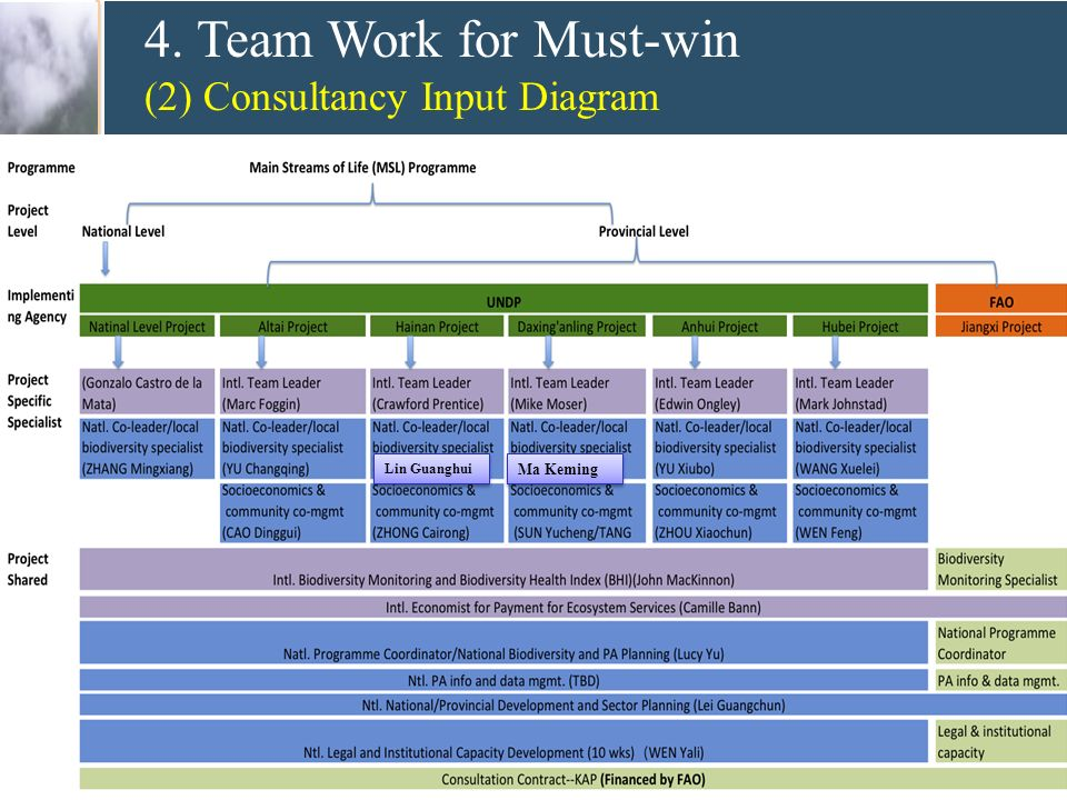 4.Team Work for Must-win (3) Consultancy Input Project Specific Specialists 1.