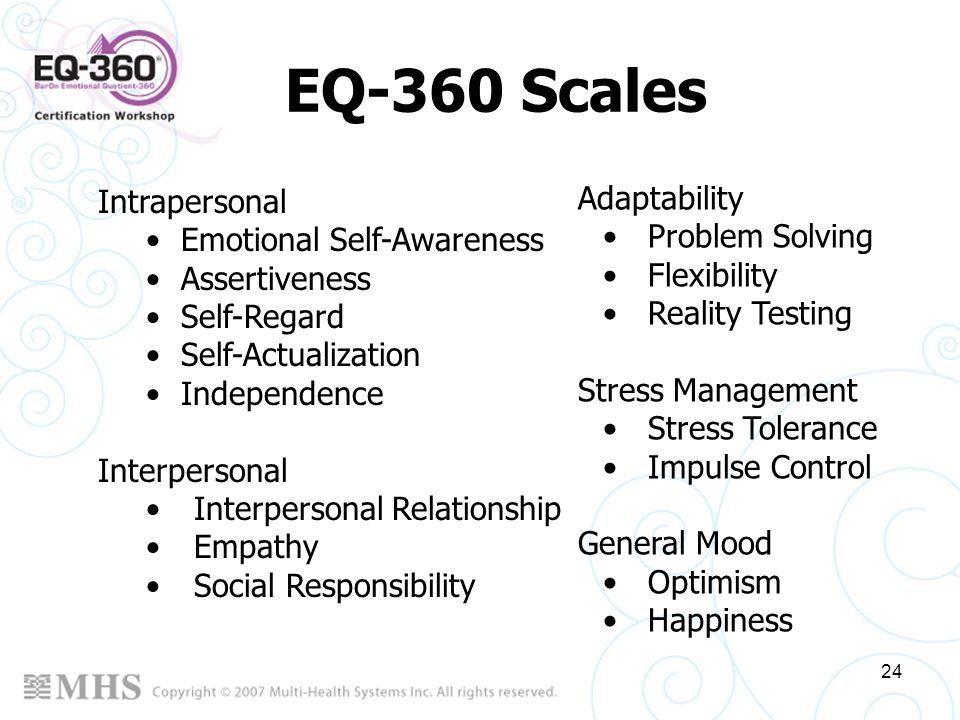 24 EQ-360 Scales Intrapersonal Emotional Self-Awareness Assertiveness Self-Regard Self-Actualization Independence Interpersonal Interpersonal Relation