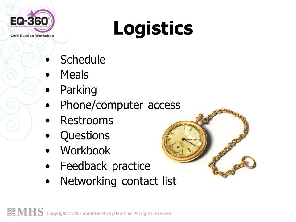 Logistics Schedule Meals Parking Phone/computer access Restrooms Questions Workbook Feedback practice Networking contact list