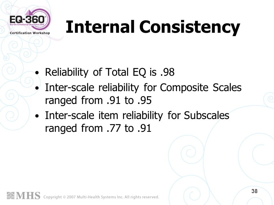38 Internal Consistency Reliability of Total EQ is.98 Inter-scale reliability for Composite Scales ranged from.91 to.95 Inter-scale item reliability f