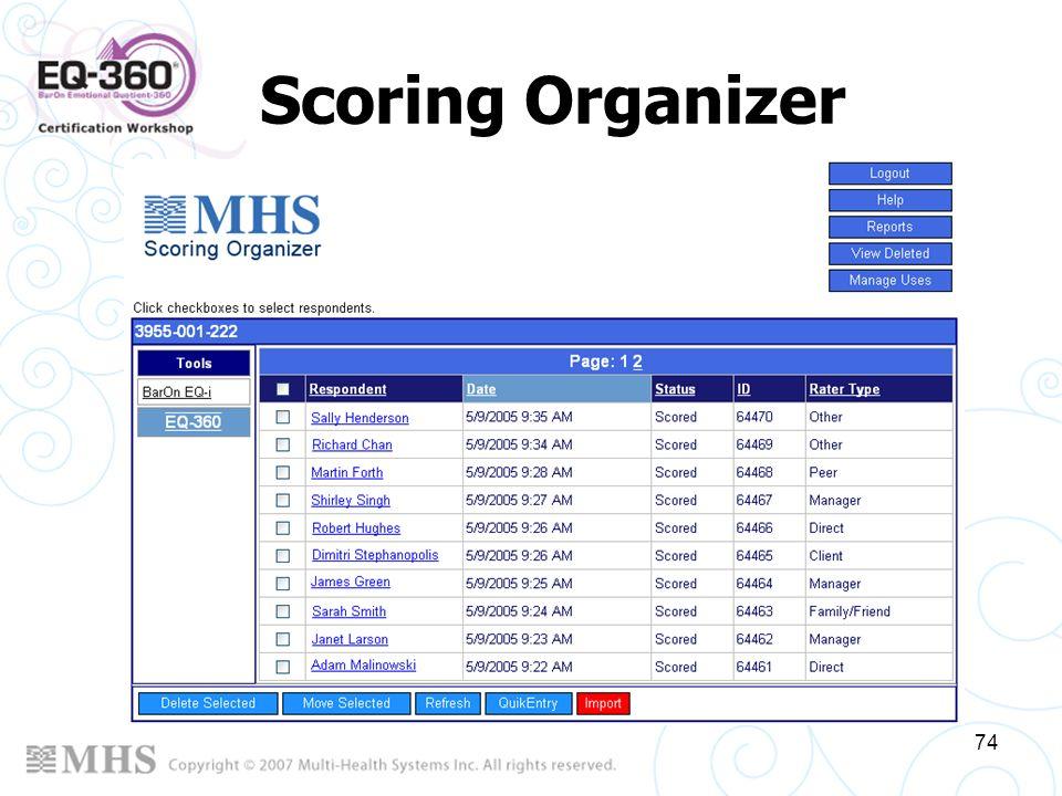 74 Scoring Organizer