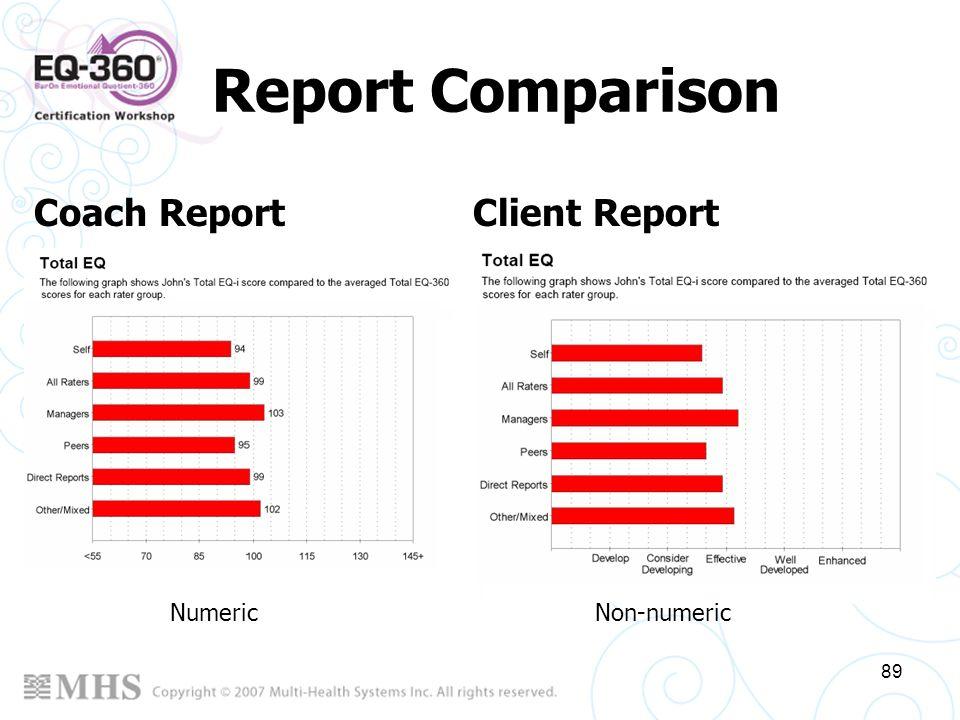 89 Report Comparison Coach Report Client Report Numeric Non-numeric