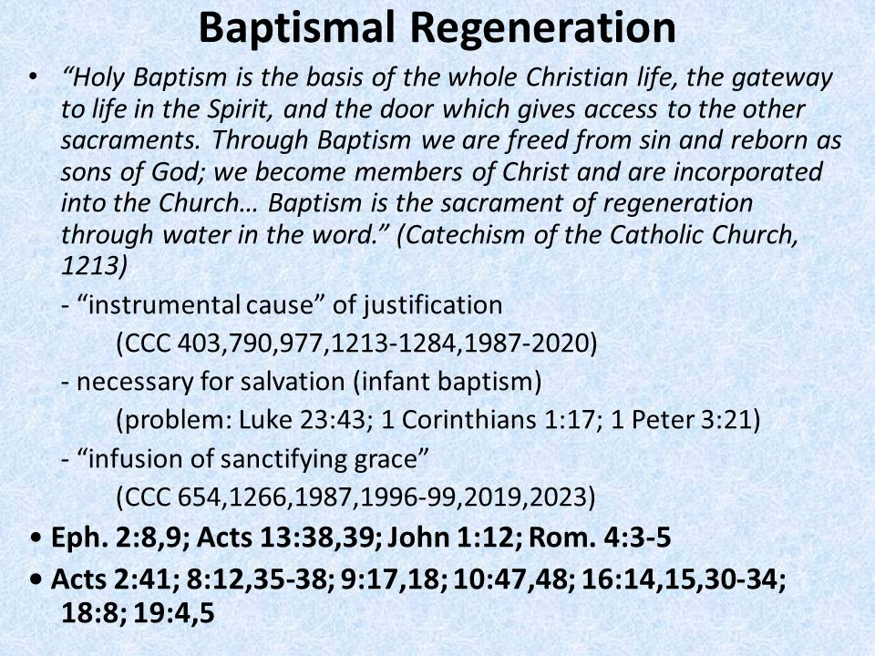 Baptismal Regeneration Holy Baptism is the basis of the whole Christian life, the gateway to life in the Spirit, and the door which gives access to th