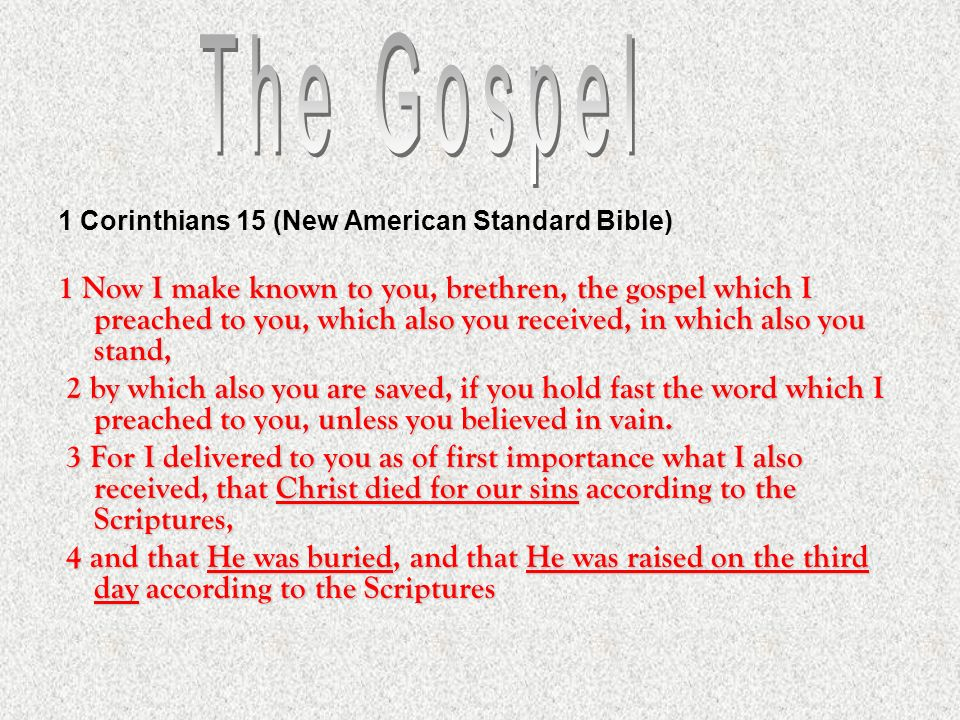 1 Corinthians 15 (New American Standard Bible) 1 Now I make known to you, brethren, the gospel which I preached to you, which also you received, in wh