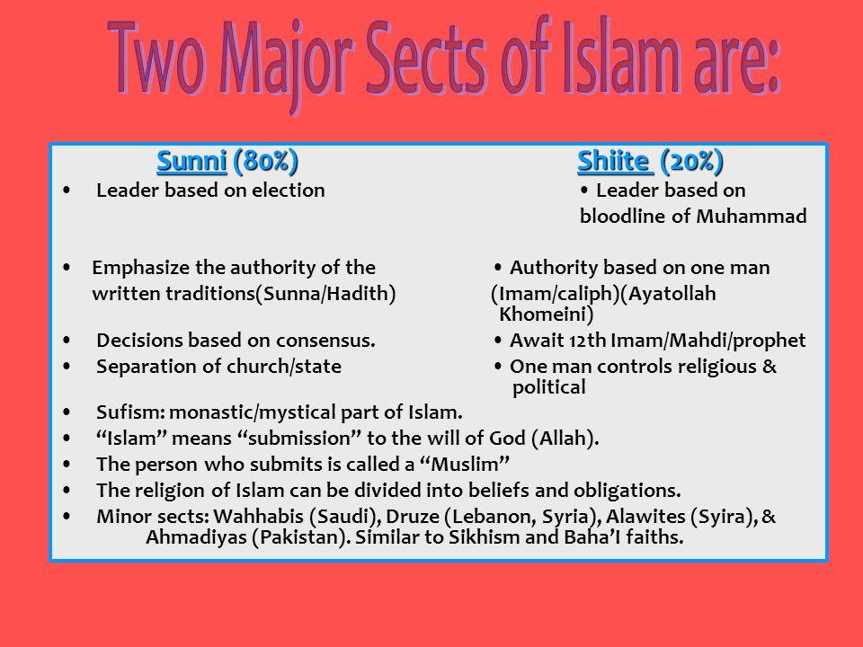 Sunni (80%)Shiite (20%) Leader based on election Leader based on bloodline of Muhammad Emphasize the authority of the Authority based on one man writt
