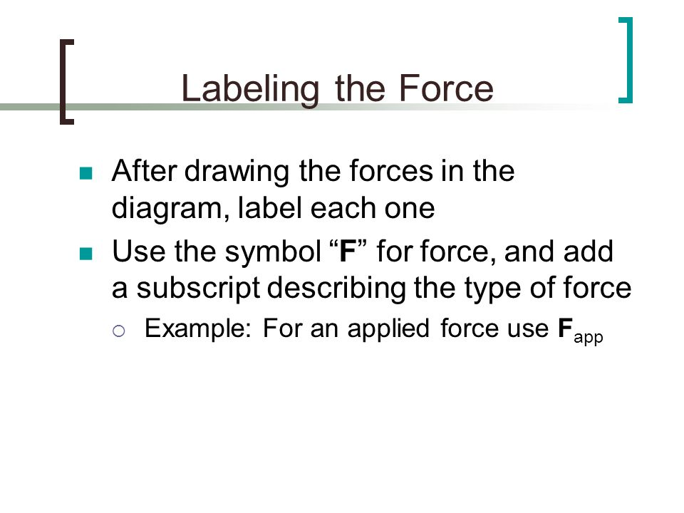 Labeling the Force After drawing the forces in the diagram, label each one Use the symbol F for force, and add a subscript describing the type of forc