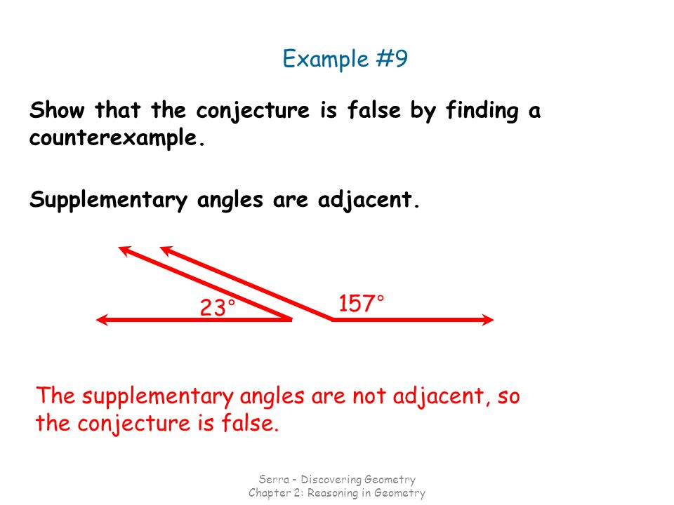 Example #9 Supplementary angles are adjacent. Show that the conjecture is false by finding a counterexample. The supplementary angles are not adjacent