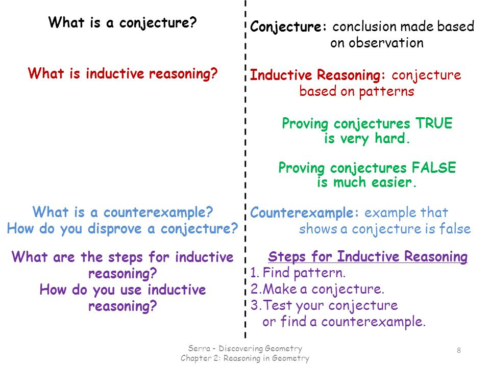 Conjecture: conclusion made based on observation 8 Counterexample: example that shows a conjecture is false Inductive Reasoning: conjecture based on p
