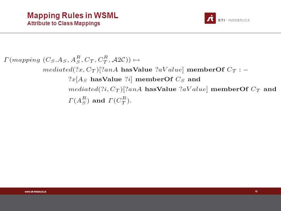 www.sti-innsbruck.at 15 Mapping Rules in WSML Attribute to Class Mappings