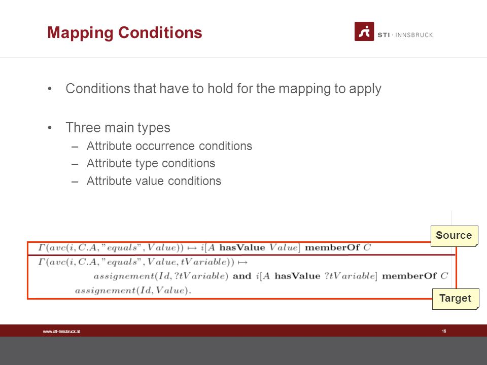www.sti-innsbruck.at 16 Mapping Conditions Conditions that have to hold for the mapping to apply Three main types –Attribute occurrence conditions –Attribute type conditions –Attribute value conditions Source Target