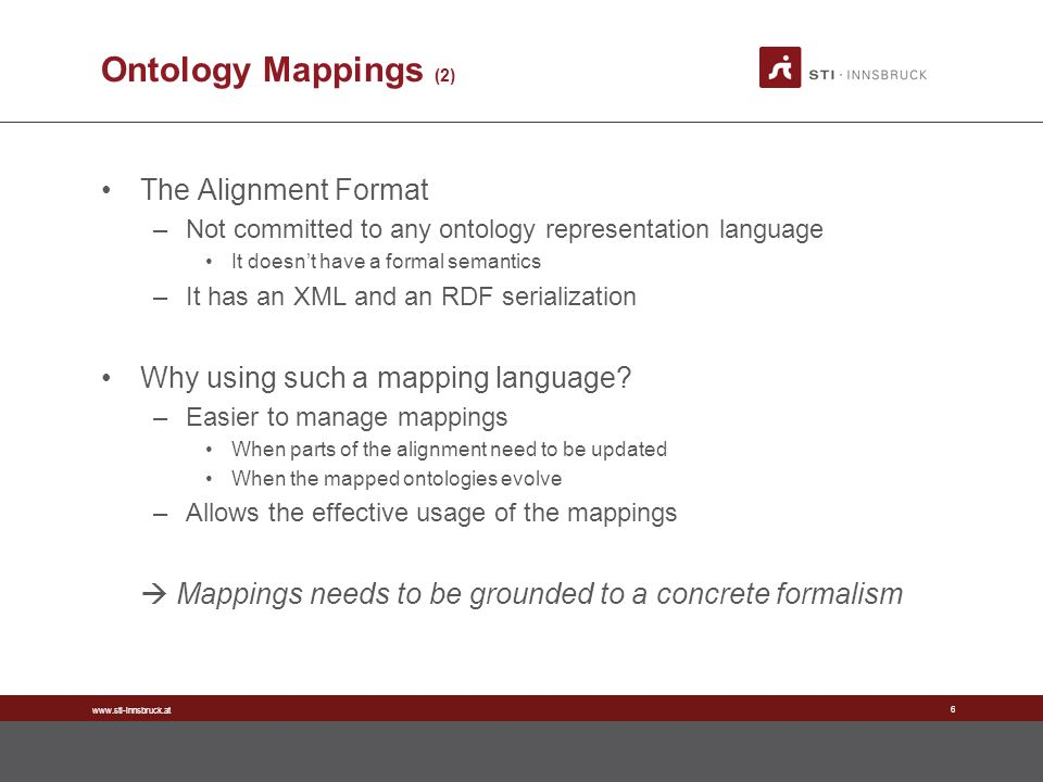 www.sti-innsbruck.at 6 Ontology Mappings (2) The Alignment Format –Not committed to any ontology representation language It doesnt have a formal semantics –It has an XML and an RDF serialization Why using such a mapping language.