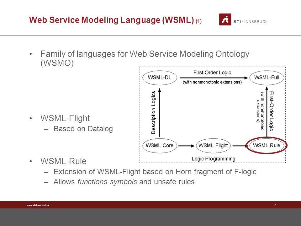 www.sti-innsbruck.at 7 Web Service Modeling Language (WSML) (1) Family of languages for Web Service Modeling Ontology (WSMO) WSML-Flight –Based on Dat