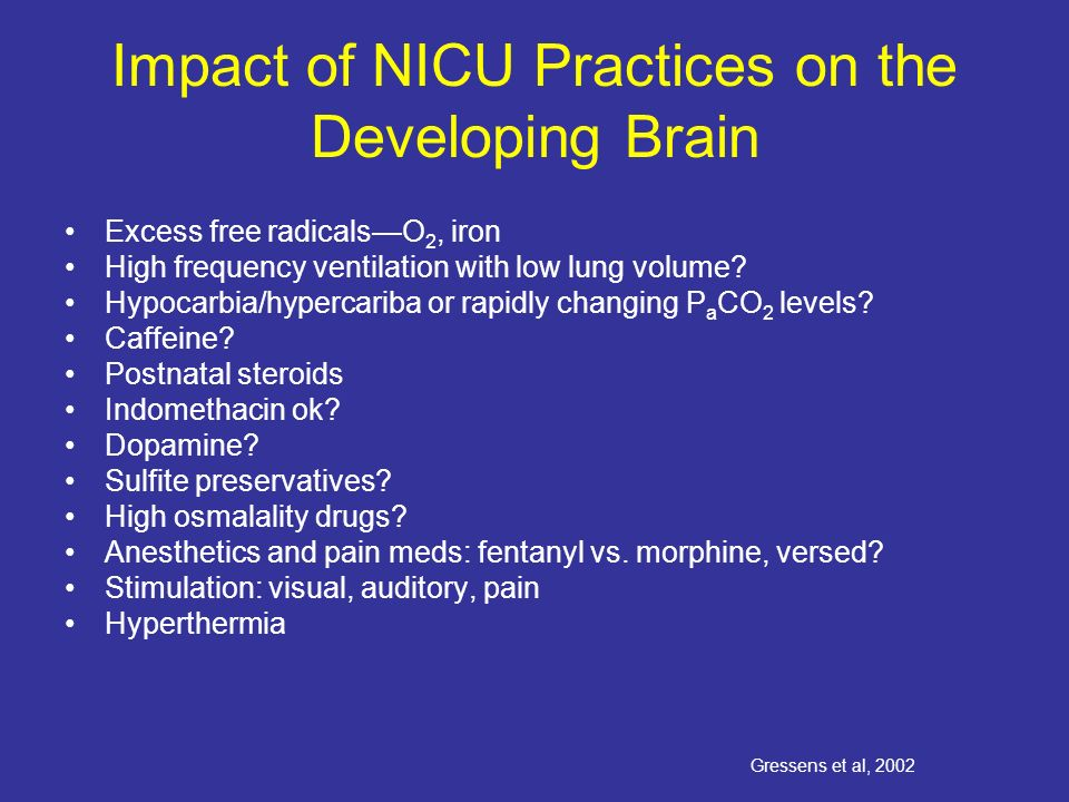 Impact of NICU Practices on the Developing Brain Excess free radicalsO 2, iron High frequency ventilation with low lung volume.
