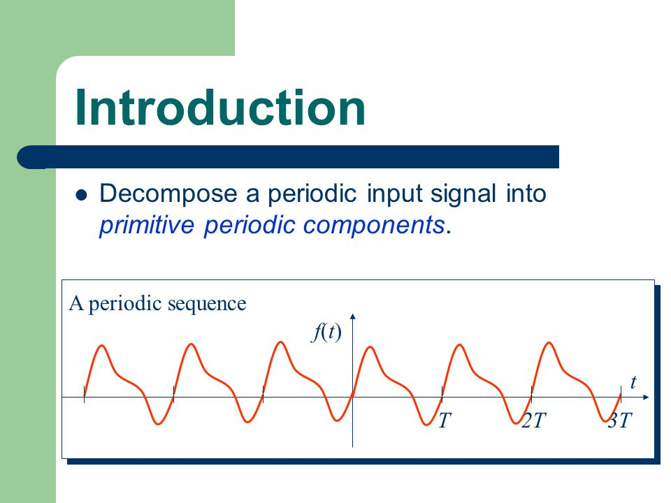 Introduction Decompose a periodic input signal into primitive periodic components. A periodic sequence T2T3T t f(t)f(t)