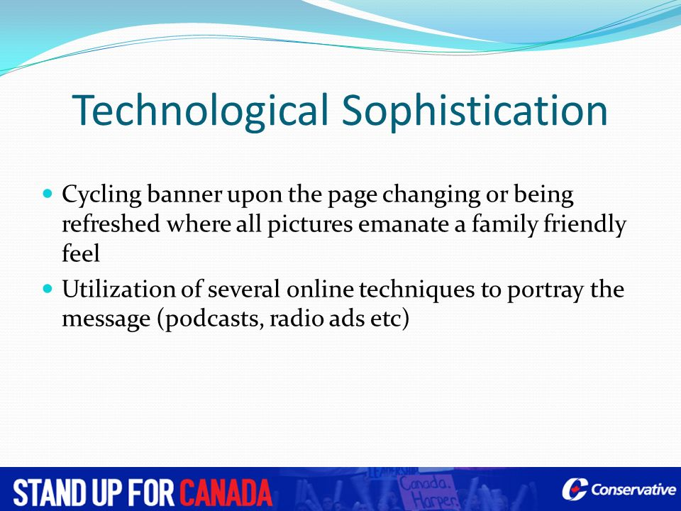 Technological Sophistication Cycling banner upon the page changing or being refreshed where all pictures emanate a family friendly feel Utilization of