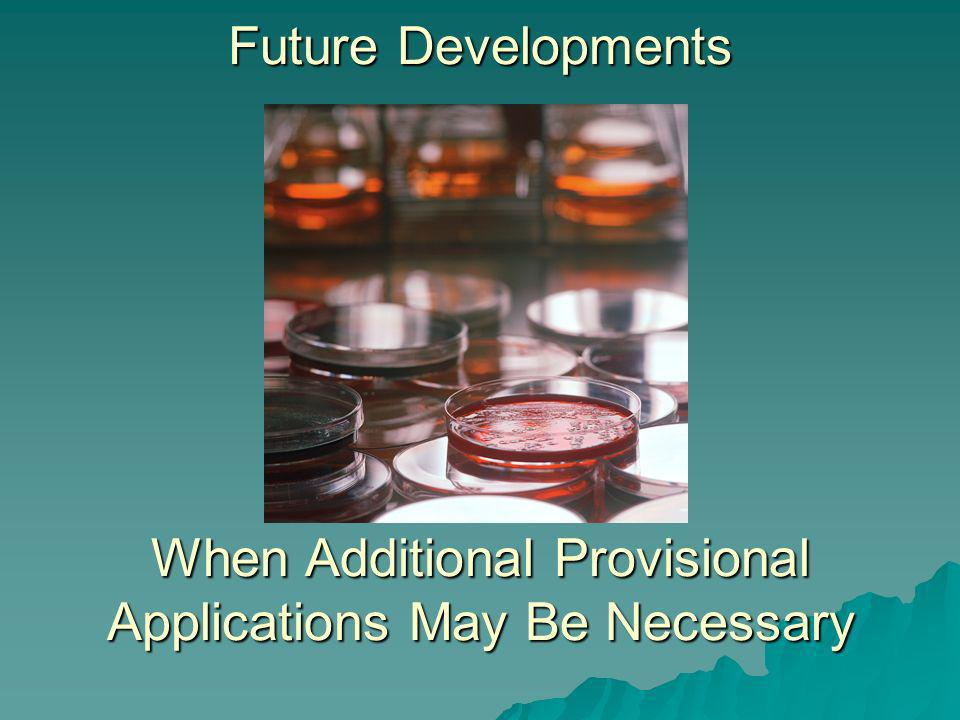 Future Developments When Additional Provisional Applications May Be Necessary