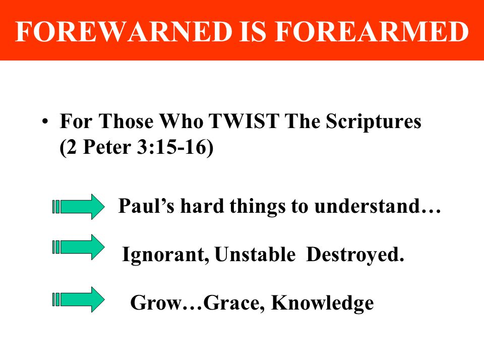 FOREWARNED IS FOREARMED For Those Who TWIST The Scriptures (2 Peter 3:15-16) Pauls hard things to understand… Ignorant, Unstable Destroyed.