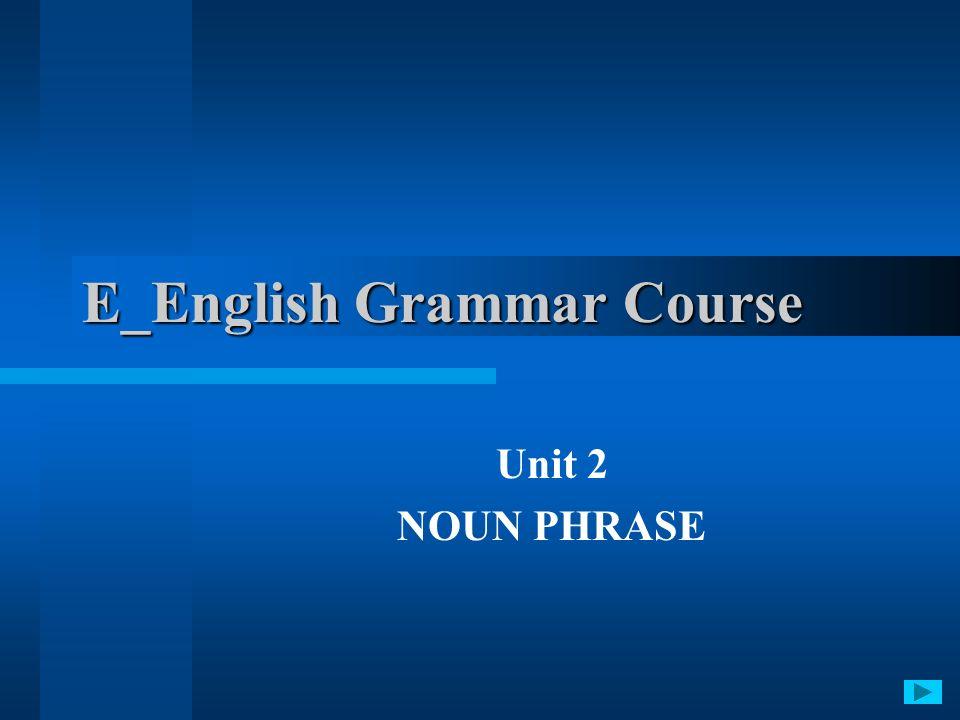 E_English Grammar Course Unit 2 NOUN PHRASE