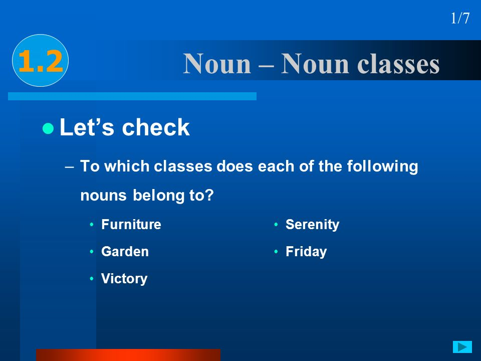 Noun – Noun classes Lets check –To which classes does each of the following nouns belong to? Furniture Garden Victory Serenity Friday 1.2 1/7