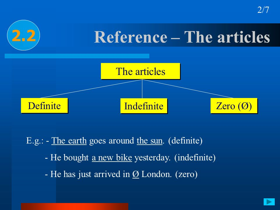 Reference – The articles 2.2 2/7 The articles Definite Indefinite Zero (Ø) E.g.: - The earth goes around the sun. (definite) - He bought a new bike ye