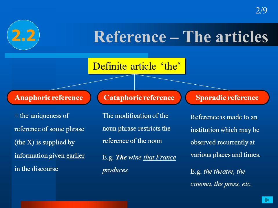Reference – The articles 2.2 Definite article the 2/9 Anaphoric reference Cataphoric referenceSporadic reference = the uniqueness of reference of some