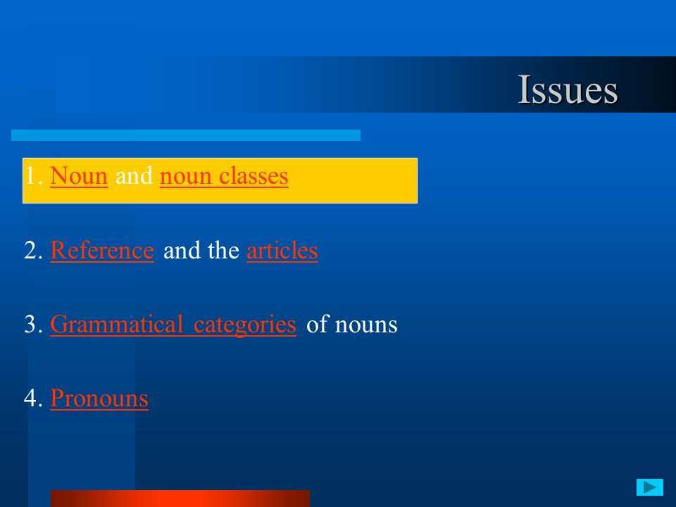 1. Noun and noun classes 2. Reference and the articles 3. Grammatical categories of nouns 4. Pronouns Issues
