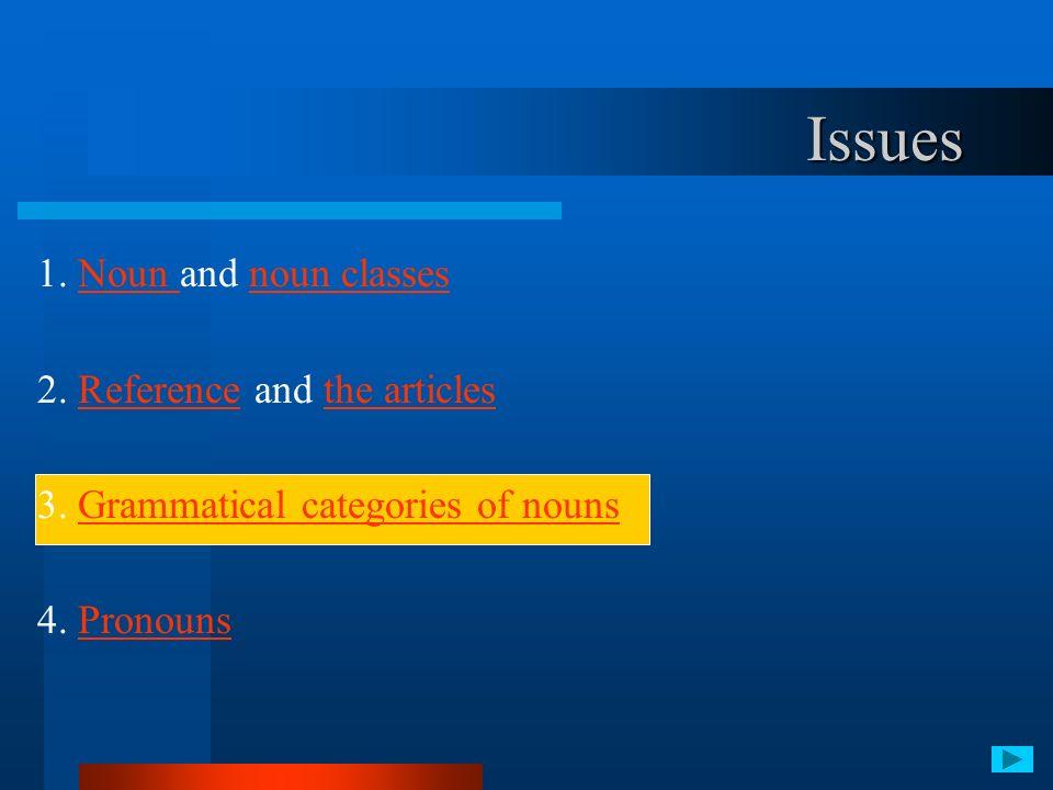 1. Noun and noun classesNoun noun classes 2. Reference and the articlesReferencethe articles 3. Grammatical categories of nounsGrammatical categories