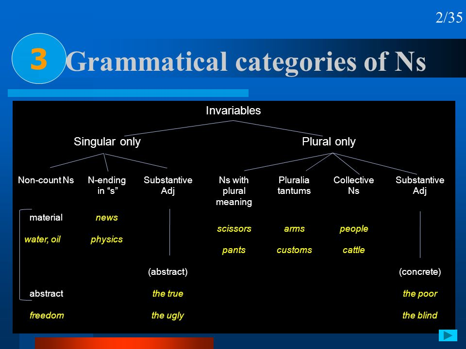 Grammatical categories of Ns 3 2/35 Invariables Singular onlyPlural only Non-count NsN-ending in s Substantive Adj Ns with plural meaning Pluralia tan