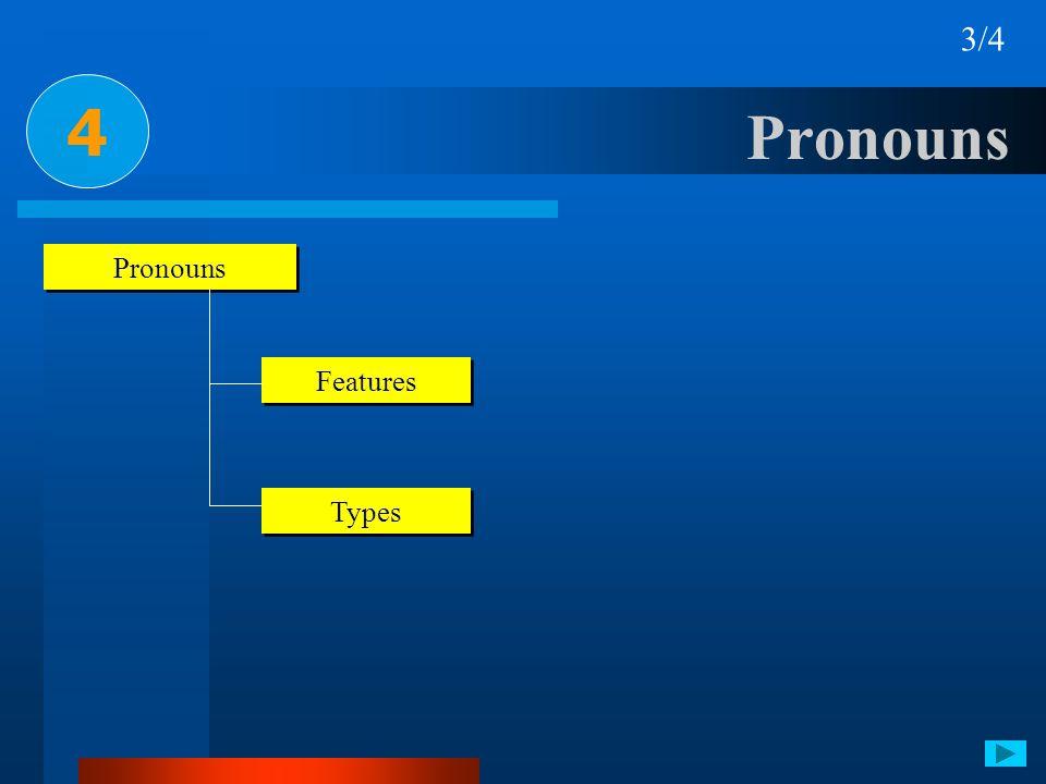 4 3/4 Pronouns Features Types