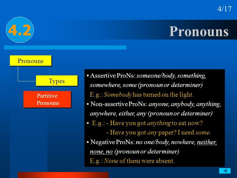Pronouns 4.2 4/17 Pronouns Types Partitive Pronouns Partitive Pronouns Assertive ProNs: someone/body, something, somewhere, some (pronoun or determine