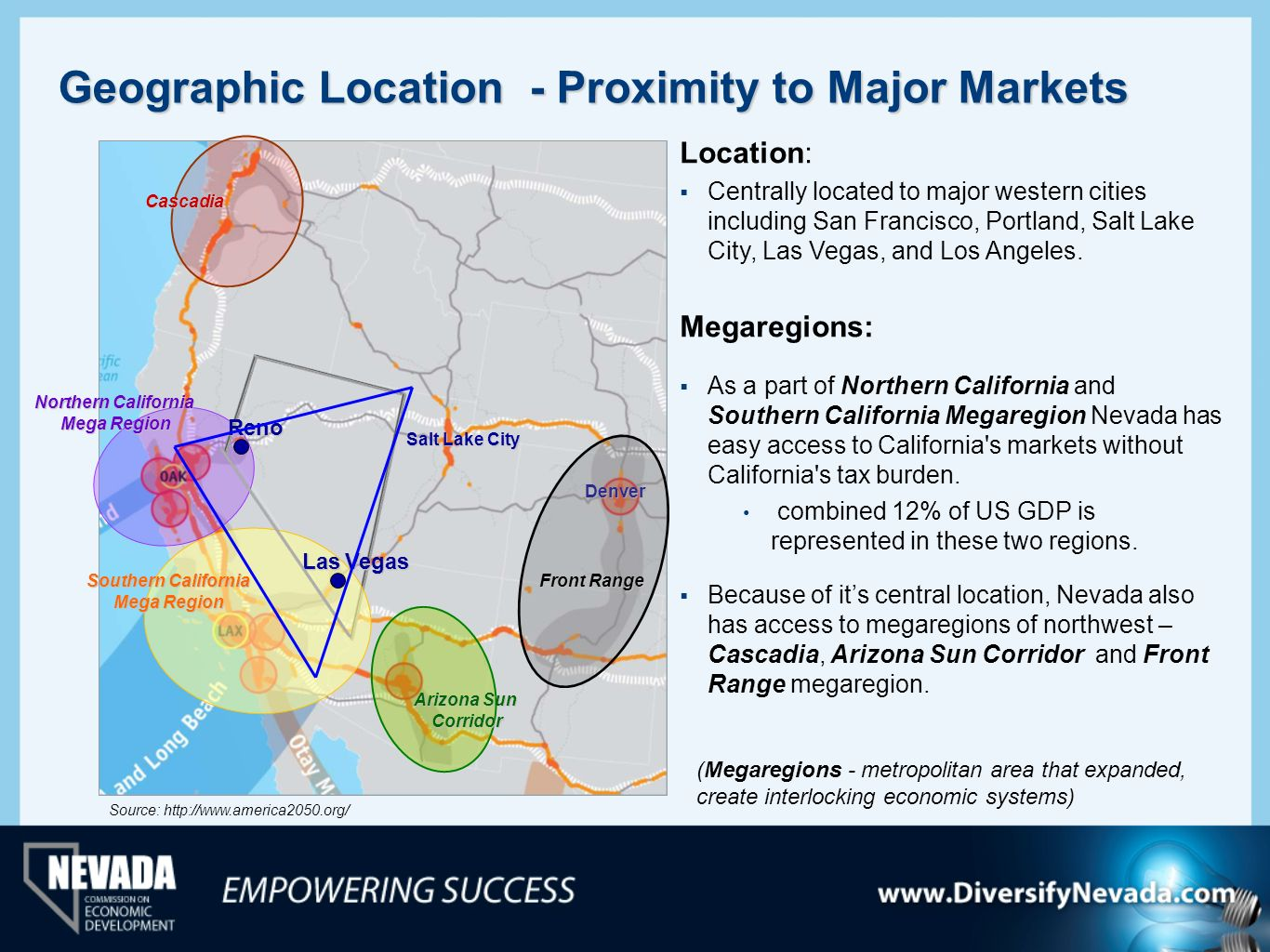 Geographic Location - Proximity to Major Markets Denver Salt Lake City Location: Centrally located to major western cities including San Francisco, Po