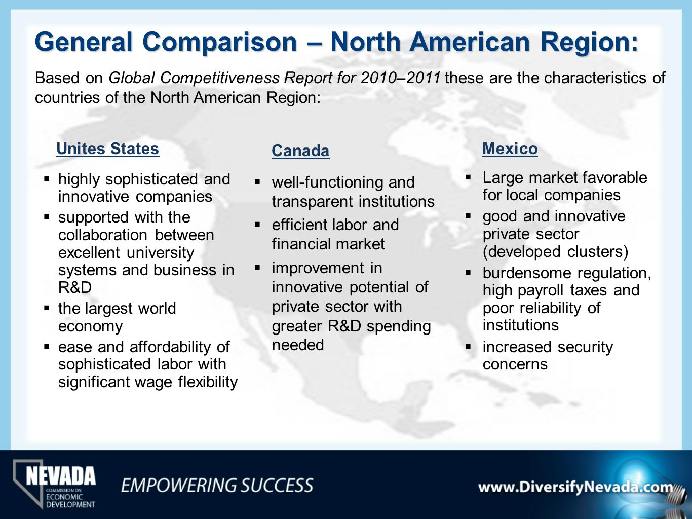 General Comparison – North American Region: Unites States highly sophisticated and innovative companies supported with the collaboration between excel