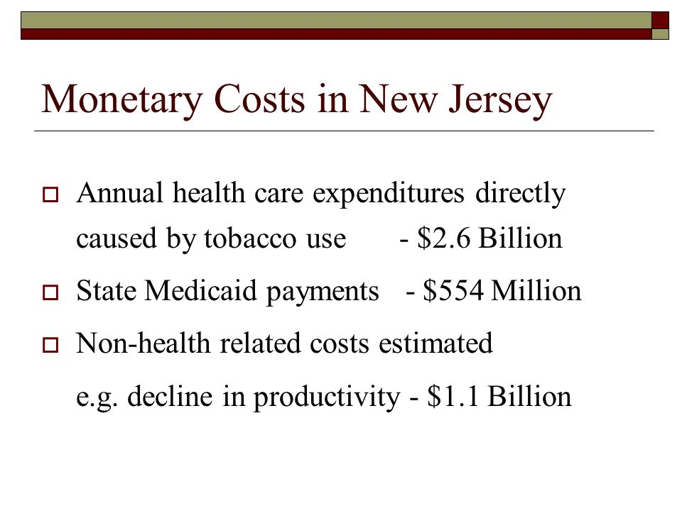 Monetary Costs in New Jersey Annual health care expenditures directly caused by tobacco use - $2.6 Billion State Medicaid payments - $554 Million Non-health related costs estimated e.g.