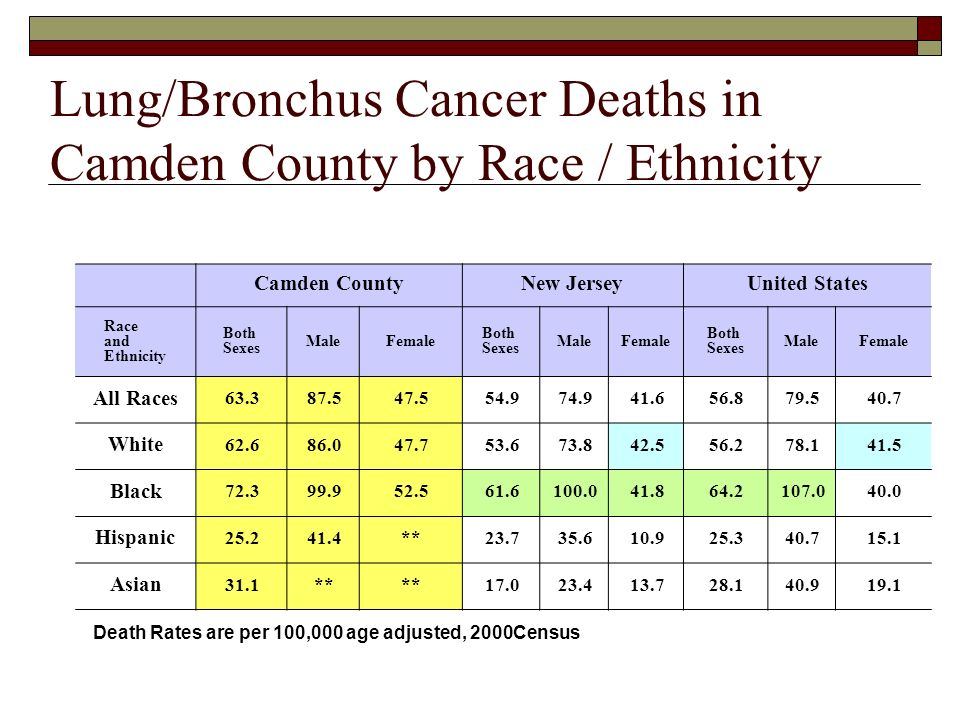 Lung/Bronchus Cancer Deaths in Camden County by Race / Ethnicity Camden CountyNew JerseyUnited States Race and Ethnicity Both Sexes MaleFemale Both Sexes MaleFemale Both Sexes MaleFemale All Races 63.387.547.554.974.941.656.879.540.7 White 62.686.047.753.673.842.556.278.141.5 Black 72.399.952.561.6100.041.864.2107.040.0 Hispanic 25.241.4**23.735.610.925.340.715.1 Asian 31.1** 17.023.413.728.140.919.1 Death Rates are per 100,000 age adjusted, 2000Census