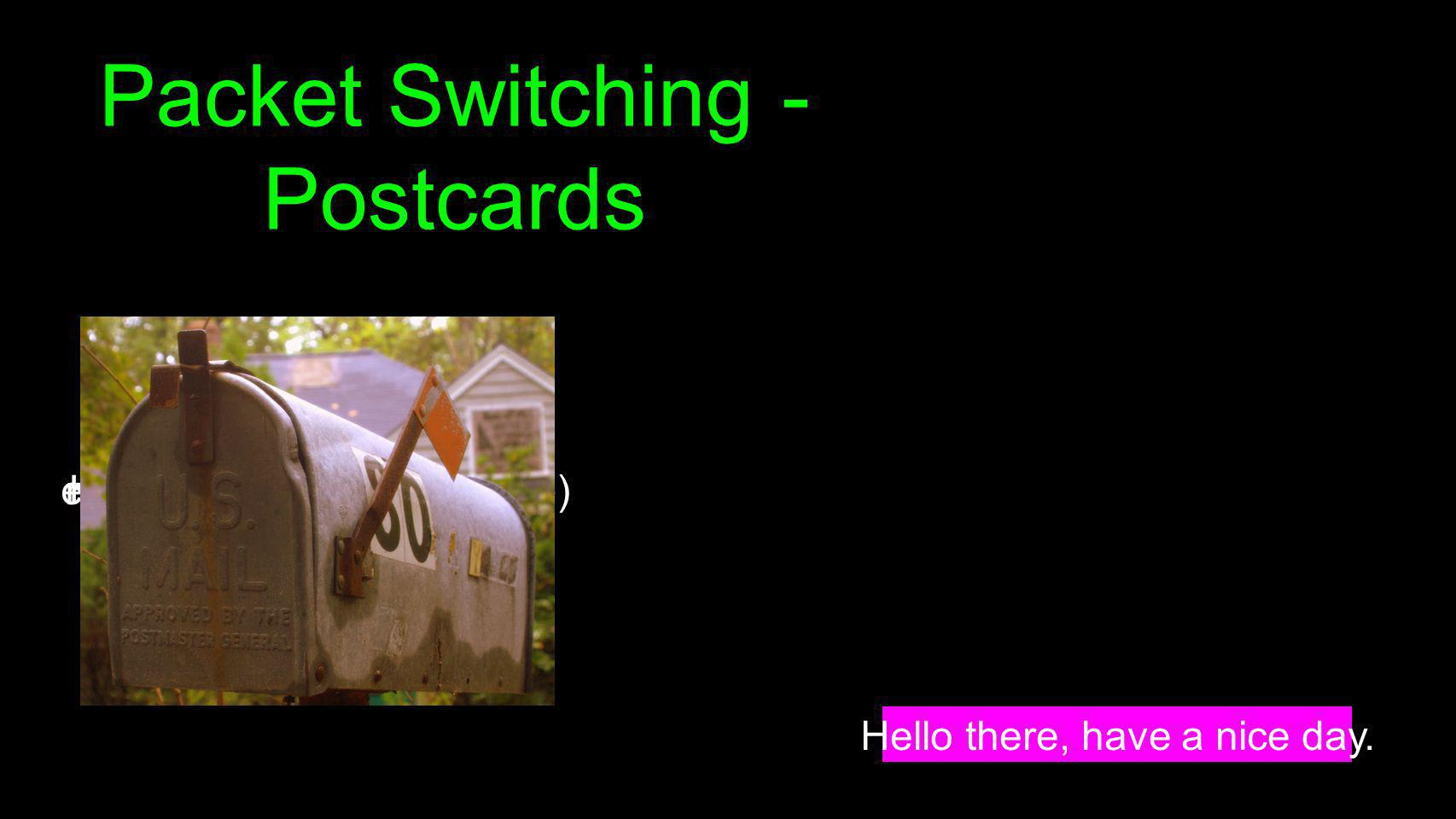 Packet Switching - Postcards Hello there, have a nice day. Hello ther (1, csev, daphne)e, have a (2, csev, daphne) nice day. (3, csev, daphne)